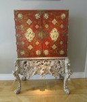 Rare lacquered cabinet on silver gilt stand, circa 1690 at Carlton Hobbs.